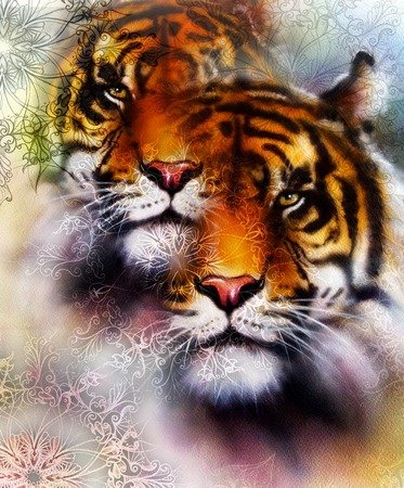 marvel: tiger collage on color abstract  background and mandala with ornamet , wildlife animals