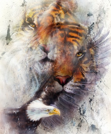 marvelous: tiger with eagle and ornamental mandala. wildlife animals on painting background, Eye contact
