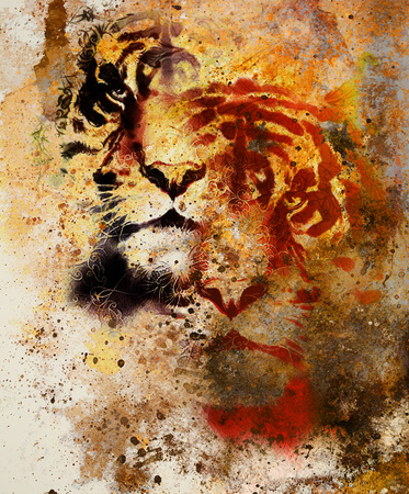 marvel: tiger collage on color abstract  background and mandala with ornament , wildlife animals. Brown, orange, black and white color