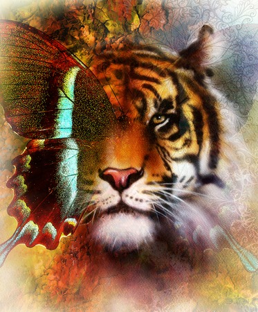 cartoon eagle: portrait tiger with eagle and butterfly wings.. Color Abstract background and ornament, vintage structure. Animal concept. Brown, orange, green, black and white color