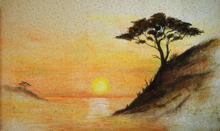 seascape: painting on wall.Painting sunset, sea and tree, wallpaper landscape