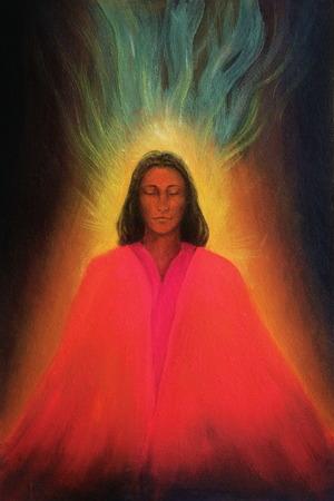 awakening: Angel woman, meditating spirit, soul awakening, beautiful colorful painting on canvas