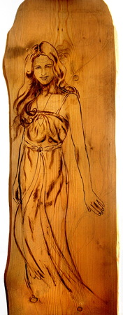 angel alone: Angel woman  sepia painting on wood