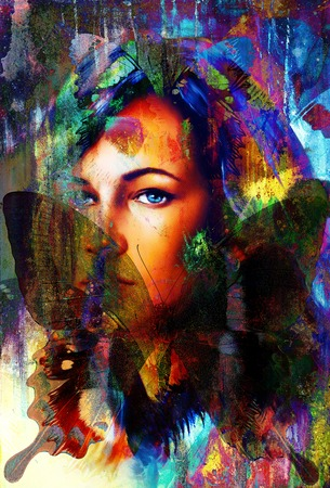 angelic: woman angelic face and a butterfly. Structure and color Collage art