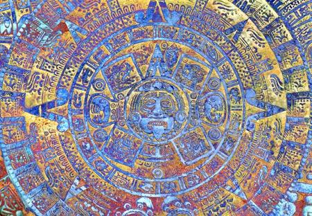 mayan calendar: Ancient Mayan Calendar, abstract color Background