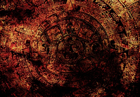 mayan culture: Ancient Mayan Calendar, abstract color Background