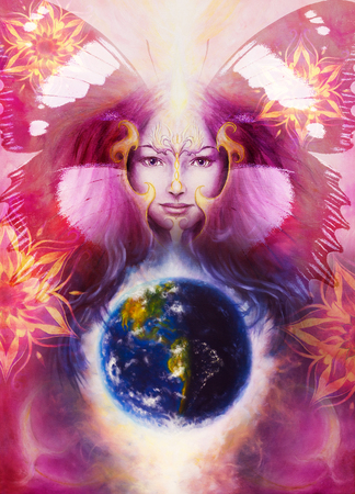 globe theatre: Beautiful Painting Goddess Woman with ornamental mandala and color abstract background  and desert crackle and earth
