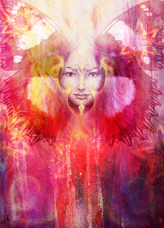 Beautiful Painting Goddess Woman with bird phoenix on your face with ornamental mandala and butterfly wings and color abstract background and eye contact, copy space