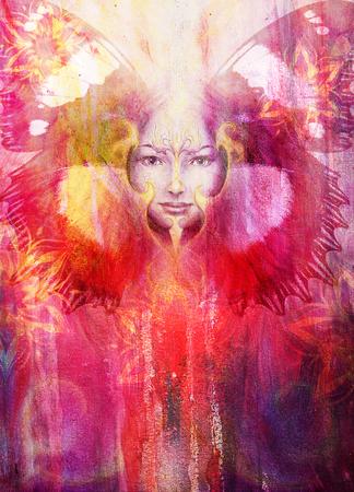 Belle femme Peinture Déesse avec phénix oiseau sur votre visage avec mandala et des ailes de papillon d'ornement et couleur abstrait et le contact visuel, l'espace de copie