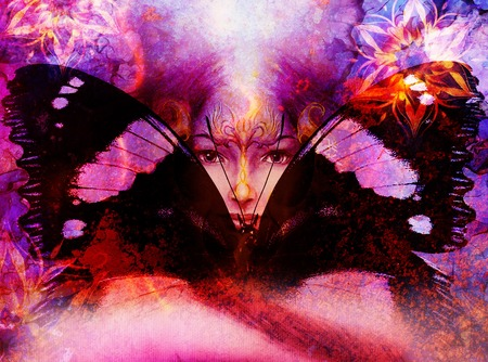 goddess: Beautiful Painting Goddess Woman with bird phoenix on your face with ornamental mandala and butterfly wings and color abstract background  and eye contact Stock Photo