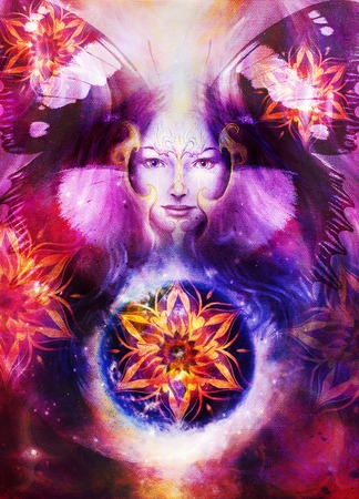 Beautiful Painting Goddess Woman with bird phoenix on your face with ornamental mandala and butterfly wings and color abstract background  and eye contact, and fire with desert crackle