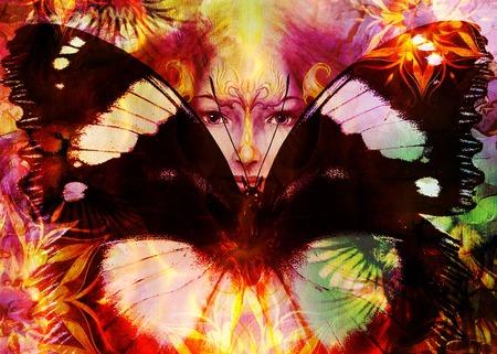 Pintura hermosa de la diosa Mujer con ave fénix en su cara con las alas de la mariposa Mandala y ornamentales y color de fondo abstracto y el contacto visual Foto de archivo