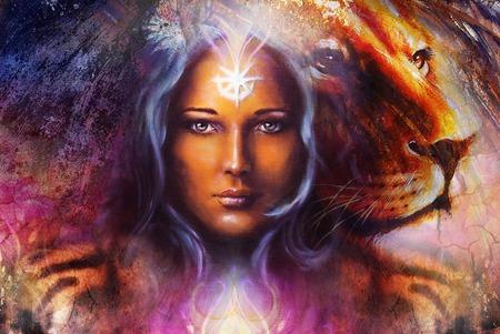 peinture puissant lion et tête de tigre sur fond ornemental et visage de femme mystique, ordinateur collage