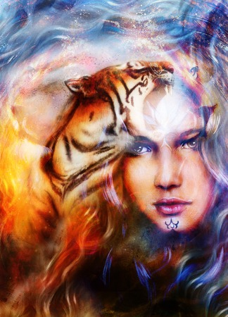 mighty: painting mighty tiger and lion head on ornamental background and mystic woman face, computer collage..
