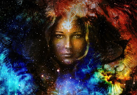 Goodnes woman and lion  and bird in space with galaxi and stars. profile portrait, eye contact