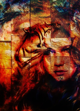 strenght: painting mighty tiger head on ornamental background and mystic woman face, computer collage.  wall structure