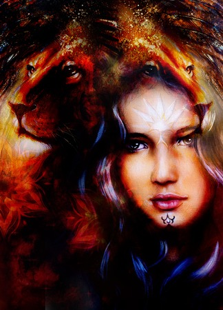 strenght: painting mighty lion head on ornamental background and mystic woman face, computer collage