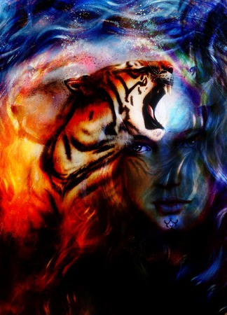 mighty: painting mighty tiger head on ornamental background and mystic woman face, computer collage