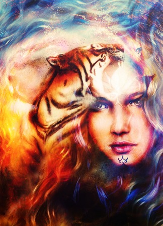 strenght: painting mighty tiger head on ornamental background and mystic woman face, computer collage