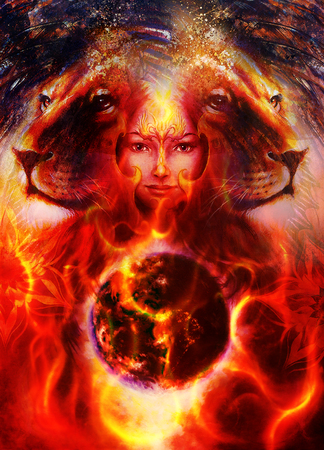 strenght: painting mighty lion head, and mystic woman face with bird phoenix tattoo on face, ornament background. computer collage and planet earth in fire , profile portrait