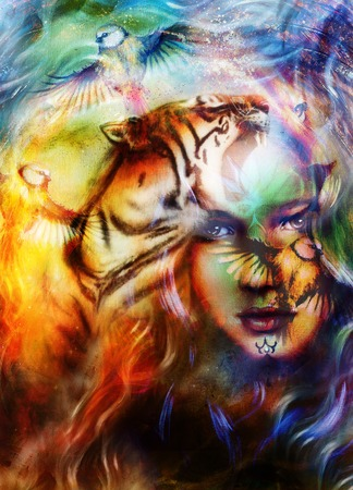 strenght: painting mighty lion and  tiger head, and mystic woman with bird, ornament background. computer collage, profile portrait, eye contact