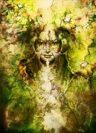 magic book: beautiful illustration women and mandala, with birds on multicolor background eye contact. titmouse bird Stock Photo