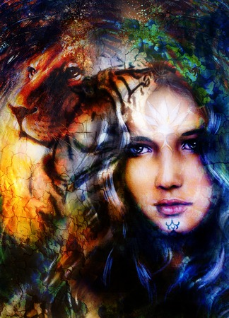 cat goddess: woman goddess holding a sourceful of a white light and  lion head. abstract background with spots