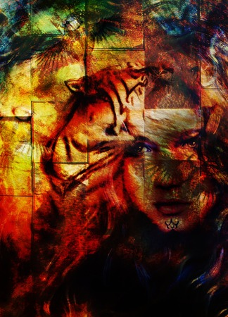 royal safari: painting mighty  tiger head and mystic woman face, computer collage