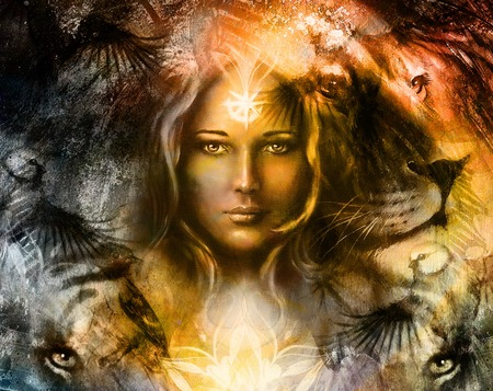 spiritual background: painting mighty lion and tiger head, and mystic woman with ornamental tattoo on face with bird, ornament background and mandala. computer collage, profile portrait, eye contact