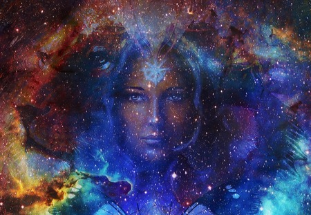 Beautiful Painting Goddess Woman and  Color space background with stars
