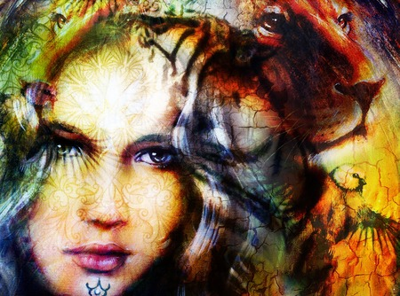 painting mighty lion head, and mystic woman face with bird, ornament background. computer collage, profile portrait. Stock Photo