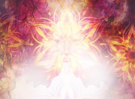 Schöne Gemälde Göttin Frau mit ornamental mandala und Farbe abstrakten Hintergrund und Wüsten Knistern. Standard-Bild