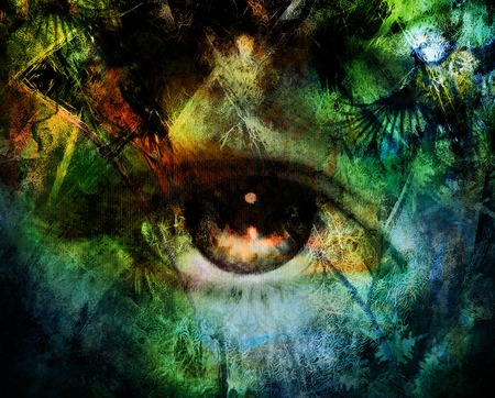 eye contact: beautiful illustration women eye , with birds on multicolor background eye contact Stock Photo