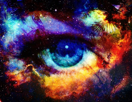 Goddess eye and Color space background with stars