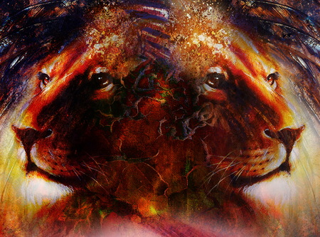 royal safari: portrait lion  face, profile portrait, on colorful abstract feather pattern background. Abstract color collage with spots. Stock Photo