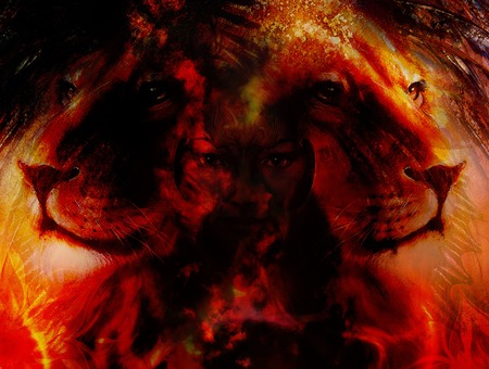 strenght: painting mighty lion head on ornamental background and mystic woman face, computer collage, fire effect