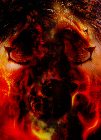 mighty: painting mighty lion head on ornamental background and mystic woman face, computer collage, fire effect