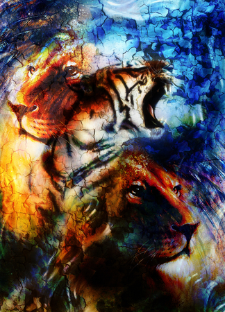 royal safari: portrait lion and Tiger face, profile portrait, on colorful abstract  background. Abstract color collage with spots