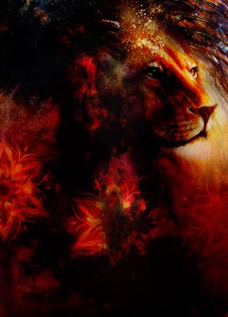 peaceful: lion head with a majestically peaceful expression, light effect and ornamental mandala. profile portrait