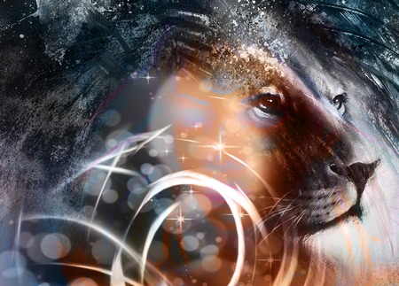 peaceful: lion head with a majestically peaceful expression, light effect. profile portrait