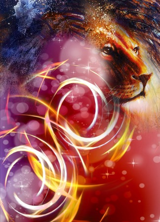 peaceful: lion head with a majestically peaceful expression, light effect and stars with bookeg. profile portrait