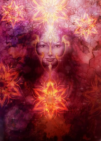 goddess: Beautiful Painting Goddess Woman with ornamental mandala and color abstract background  and desert crackle. Stock Photo