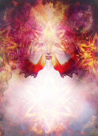 Beautiful Painting Goddess Woman And Color Space Background ...