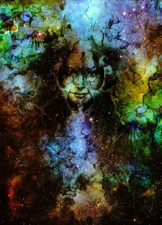 bondad: Mujer bondad y p�jaro con mandala ornamental, el fondo del espacio con las estrellas. contacto visual. titmouse p�jaro Foto de archivo