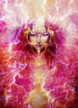 violett: beautiful painting of a violett angelic spirit with a woman face and golden ornaments, in clouds of purple energy and light
