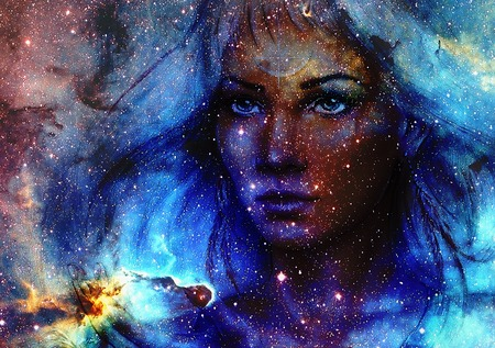 earth color: Beautiful Painting Goddess Woman and  Color space background with stars