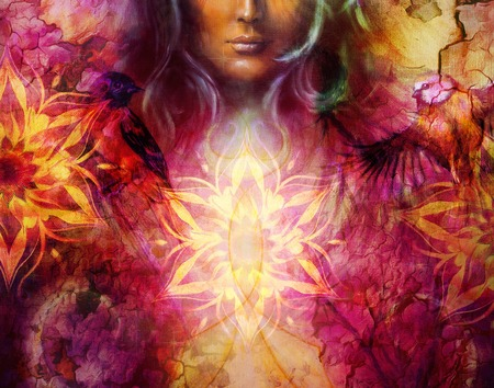 Beautiful Painting Goddess Woman with ornamental mandala and color abstract background and bird Reklamní fotografie