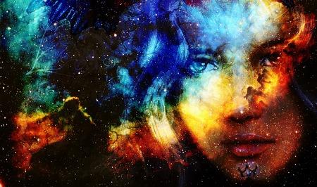 星と美しい絵画女神女性と色空間の背景
