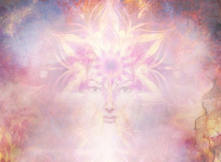 Bella pittura Dea Donna con mandala ornamentale e astratto colore di sfondo e il deserto crackle. Archivio Fotografico - 50043276