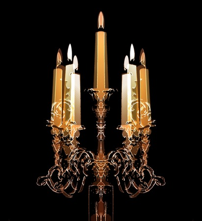 candle holder: Retro candle holder silhouette, ornamental vintage style decoration on colorful background Stock Photo